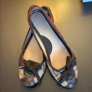 Coach pattern ballet shoes